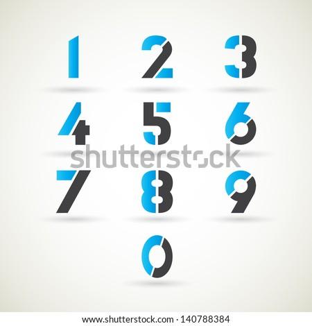numbers set, vector. - stock vector
