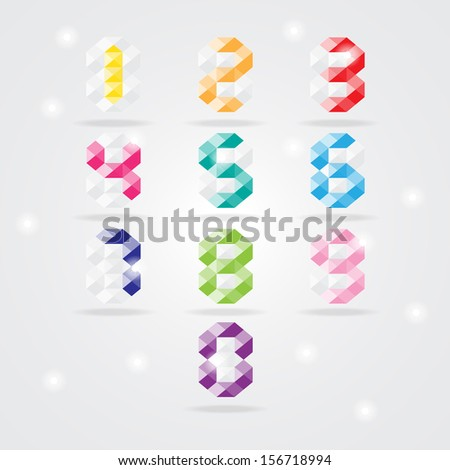 Numbers set. Vector illustration - stock vector