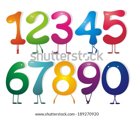 Numbers set. Vector illustrations.  - stock vector
