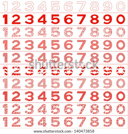 Numbers signs set, from 1 to 9, different patterns, isolated on white. Vector - stock vector