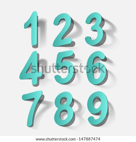 Numbers 1-9 ( stickers) - stock vector