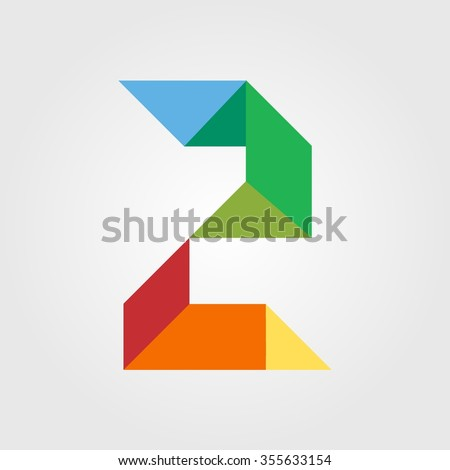 Numbers two (2) in origami style. Vector illustration colorful bright design. Formed by triangles. For party poster, greeting card, banner or invitation. Cute numerical icons and signs. - stock vector