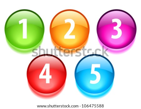 Numbers vector buttons - stock vector