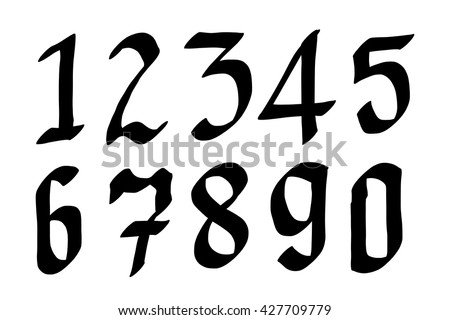 Numbers 0 9 Written With A Brush On White Background