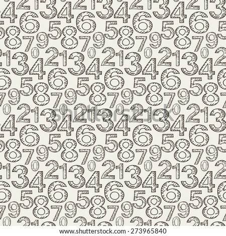 Numeral doodles. Seamless pattern. Abstract background. Line design. Background texture for Your design book web design, wallpapers for walls. Black and white color. Vector illustration