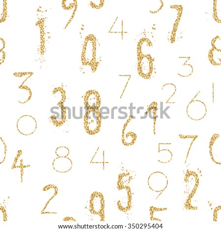 Numeral seamless gold pattern with glitter sparkle surface. Shimmer sequins digit white background. - stock vector