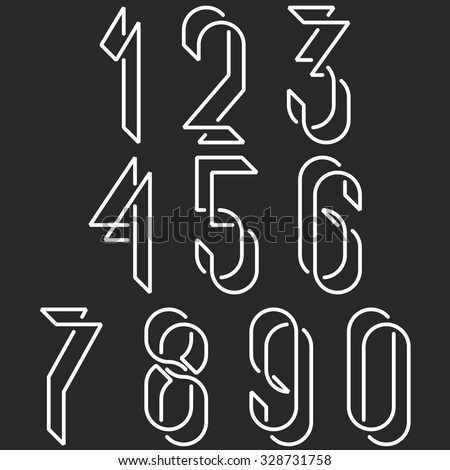 Numerical symbols line monogram numbers, mockup black and white line mathematics numerals for hipster poster - stock vector