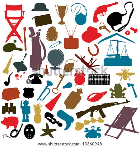 numerous random objects in silhouette: NO auto-trace: HIGH QUALITY vector paths.See also my Shutterstock files #13963618,  #13360951, #14051254, #19737103, #26799640 - stock vector