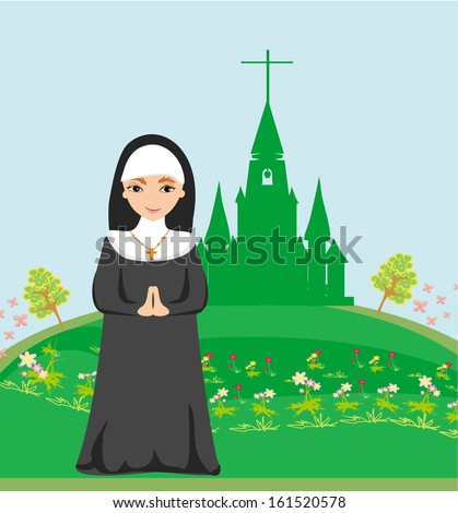 nun praying in front of the church - stock vector
