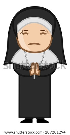 Nun Praying to God - Cartoon Vector - stock vector