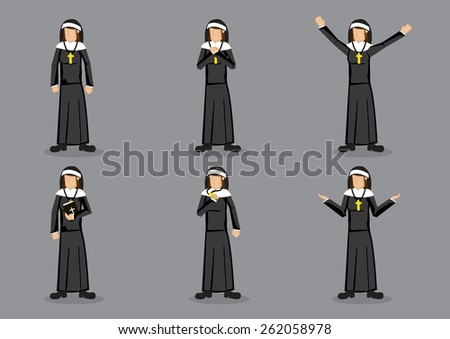 Nun wearing religious habit of black garb with headdress and cross necklace. Set of six vector cartoon characters in different gestures isolated on grey background. - stock vector