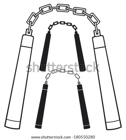 nunchaku weapon (martial arts nunchaku weapon) - stock vector