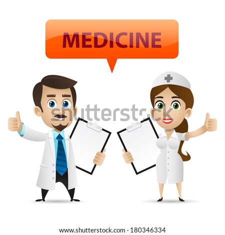 Nurse and doctor showing thumb up - stock vector