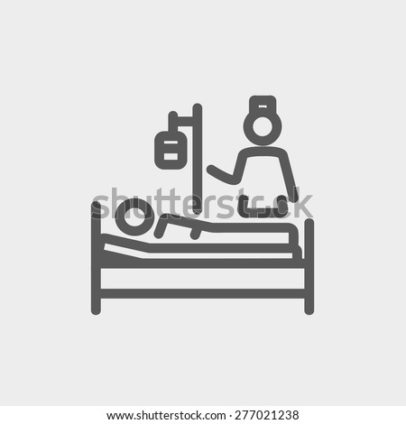 Nurse attending a sick patient icon thin line for web and mobile, modern minimalistic flat design. Vector dark grey icon on light grey background. - stock vector