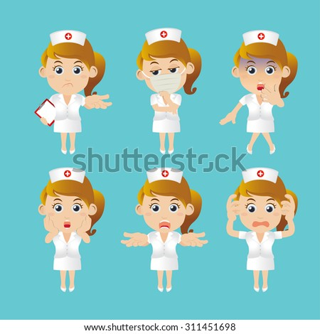 Nurse in different poses - stock vector