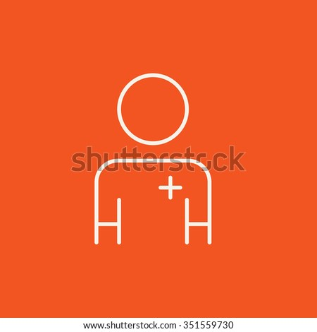 Nurse line icon for web, mobile and infographics. Vector white icon isolated on red background. - stock vector