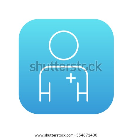 Nurse line icon for web, mobile and infographics. Vector white icon on the blue gradient square with rounded corners isolated on white background. - stock vector
