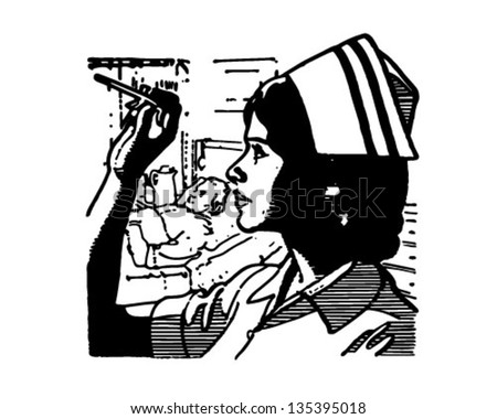 Nurse Reading Thermometer - Retro Clip Art Illustration