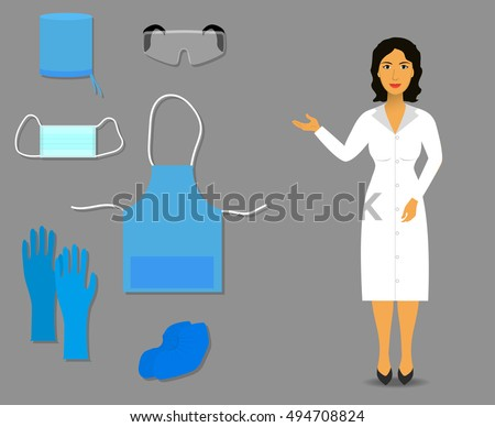 Nurse shows medical clothing and accessories for work