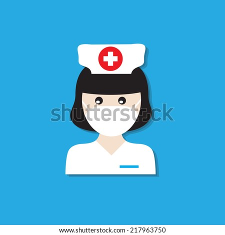 Nurse wearing cloth gag to patient care. - stock vector