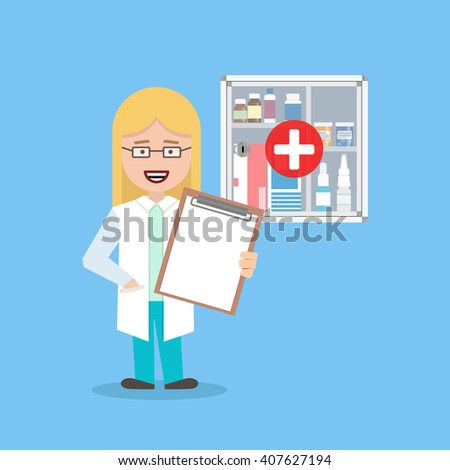 nurse with blank background on first-aid kit. Flat illustration