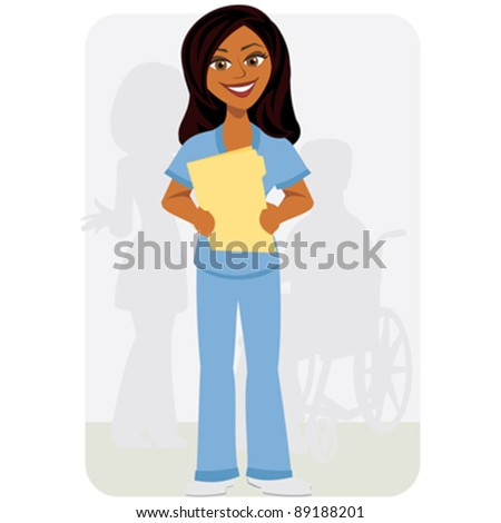 Nurse with Chart - stock vector