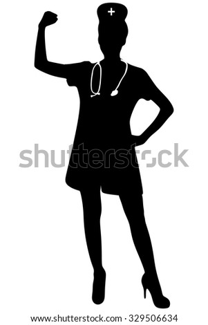 Nurse woman showing arm muscles smiling
