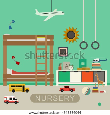 Nursery interior with furniture and toys. Vector banner of baby bedroom in flat style. - stock vector