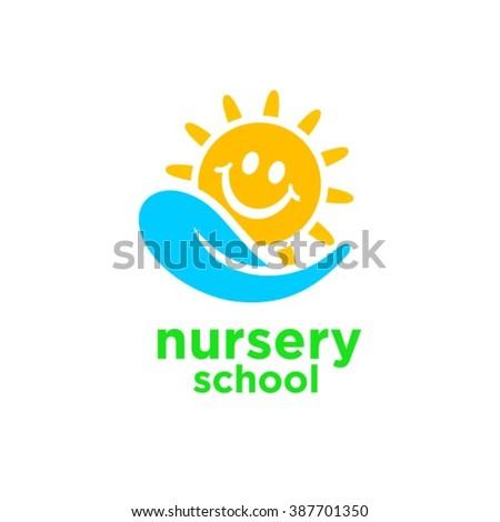 Nursery school logo design - stock vector