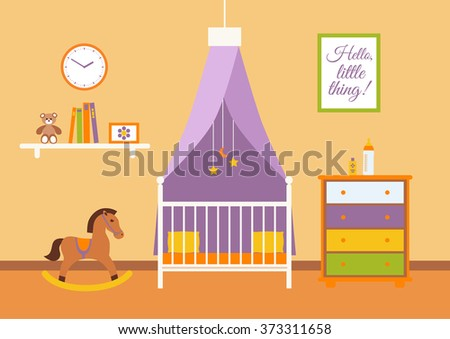 Nursery vector interior. Baby room with cradle, chair, horse rocking, toys, kid dresser. Flat style illustration
