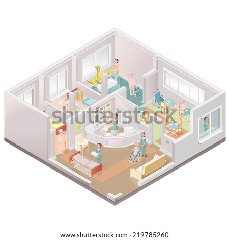 Nursing home assisted-living facility - stock vector