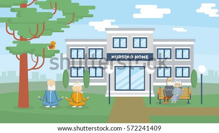 Nursing home building exterior health care stock vector for How to build a retirement home