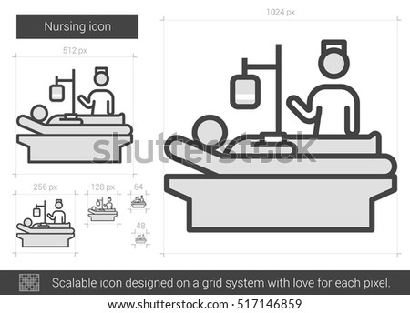 stock vector nursing vector line icon isolated on white background nursing line icon for infographic website 517146859 nursing vector line icon isolated on stock vector 517146859