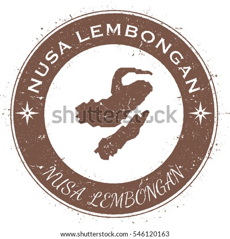Nusa Lembongan circular patriotic badge. Grunge rubber stamp with island flag, map and name written along circle border, vector illustration.