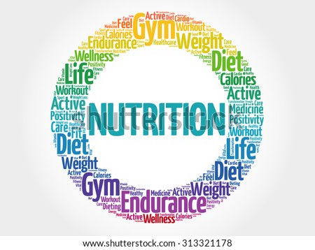 Nutrition circle stamp word cloud, fitness, sport, health concept - stock vector