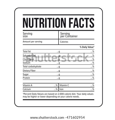Nutrition Facts Label Template Vector  Ingredients Label Template