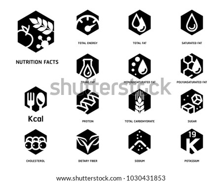 Nutrition Facts Food Science Laboratory Hexagon Stock Vector 2018
