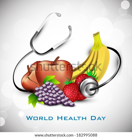 Nutrition food for healthy life, world health day concept.  - stock vector