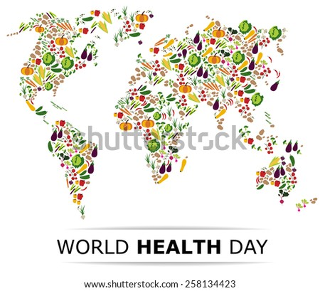 nutrition food for healthy life world health day concept cartoon world map