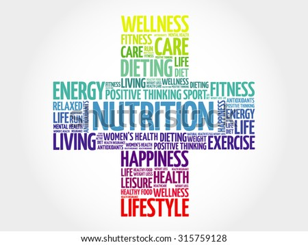 Nutrition word cloud, health cross concept - stock vector