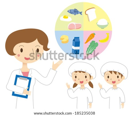 Nutritionist and children, the study of food - stock vector