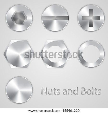 Nuts and bolts - stock vector
