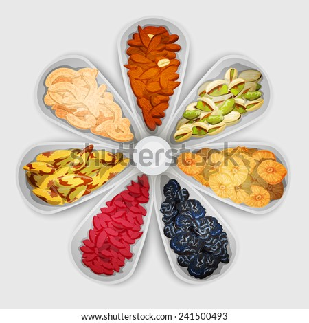 Nuts and dried fruit raw food assorted in bowls vector illustration