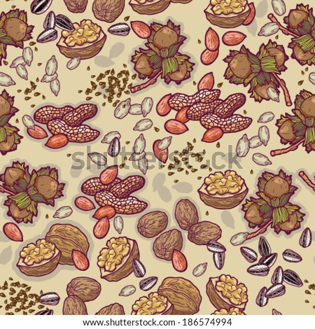 Nuts and seeds seamless cartoon vector pattern.
