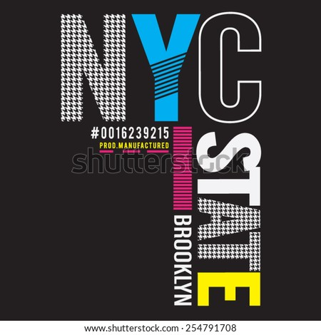 NYC Brooklyn typography, t-shirt graphics, vectors - stock vector