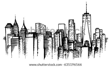 New york skyline drawing images for Square city tattoo