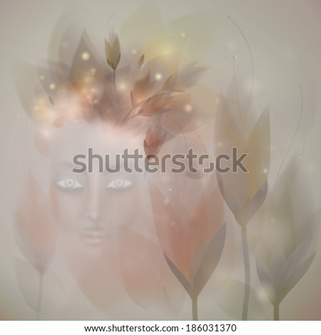 Nymph / Surreal illustration of beautiful Woman in the garden  - stock vector