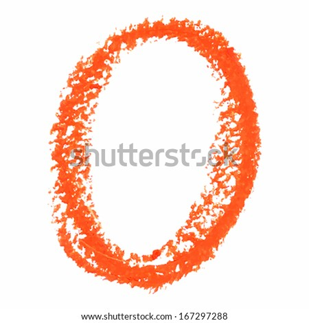 O - Orange handwritten letters  on white background. Panda oil  pastel colors.  Vector Illustration.