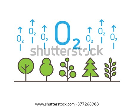 O2 (oxygen) linear vector illustration with trees, forest, plant, arrows. Natural (ecology, ecological) oxygen creative graphic concept. Natural eco oxygen process for science, chemistry, biology.  - stock vector