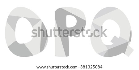 O, p, q low poly wrapping surface pastel grey vector alphabet letter isolated on white background - stock vector